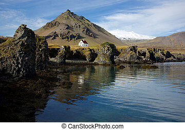 Snaefellsnes - Lone house on the coastline of the...