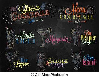 Set of cocktail menu ckalk color - Set of cocktail menu in...