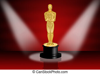 Oscars award - illustration of Oscars statuette on red...