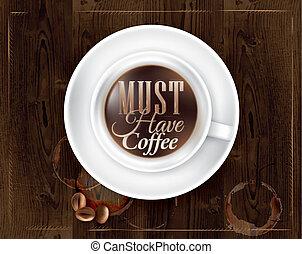 Coffee in dark brown wood - Poster coffee in dark brown wood...