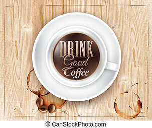 Coffee in loft wood cup - Poster coffee in loft wood color...
