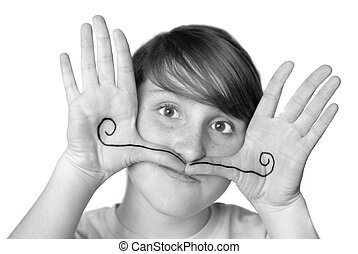 Young Girl Silly Face Mustache