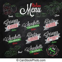 Menu Italian spaghett chalk color - Menu Italian the names...