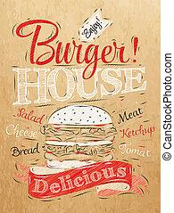 Poster lettering Burger House kraft - Poster lettering...