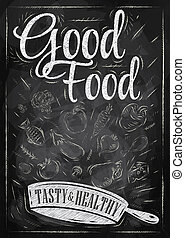 Poster good food chalk - Poster good food with frying pan in...