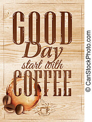Poster coffee in loft wood color. - Poster coffee in loft...