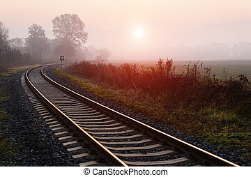 Railroad track during autumn foggy morning in countryside