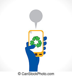 recycle symbol or apps icon display in mobile concept vector