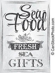 Poster Sea food. Coal. - Poster Sea food fresh sea gifts in...