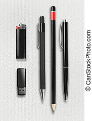 Pen, pencil, ligter and flash drive set. - Pen, pencil,...