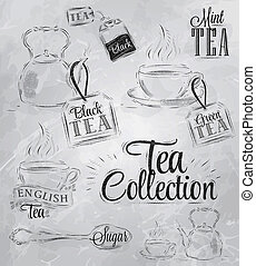 Set of tea collection. Coal. Raster - Set of tea collection...