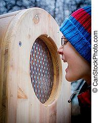 木製である, 男の子, 叫ぶこと, 箱