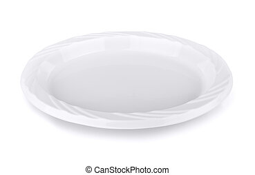 Plastic plate - Disposable plastic plate isolated on white