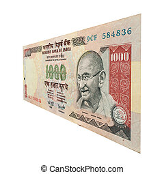 1000 Rupee Note with Mahatma Gandhi - Cut out of a single...