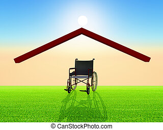 wheelchair under a home roof