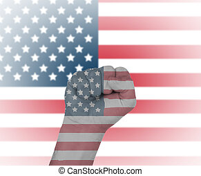 Fist wrapped in the flag of USA