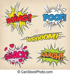 Comic Sound Effects with Grunged Style - Collection of five...