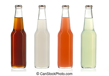 Four assorted soda bottles, alcoholic drinks - Four assorted...