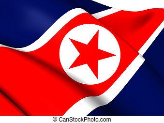 Flag of North Korea. Close Up.