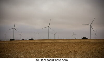 Wind turbines - Modern Wind turbines on a cloudy day