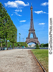 The Eiffel Tower in Paris, in France.