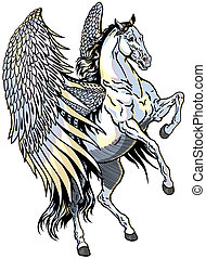 white pegasus, mythological winged horse, isolated...