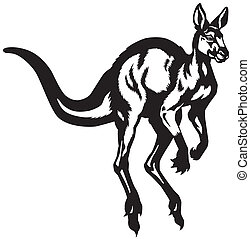 kangaroo black white - kangaroo black and white isolated...