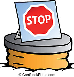 Sewer and Stop sign - Hand-drawn Vector illustration of an...
