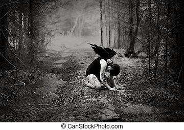 Fallen angel - Fantasy image with a fallen angel
