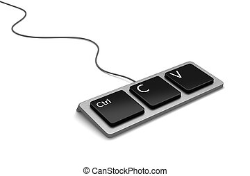 Copy paste keyboard - Keyboard with three buttons, ctrl, C...