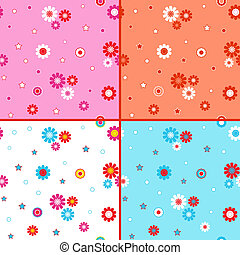 Four seamless vector patterns with daisies - Four identical...
