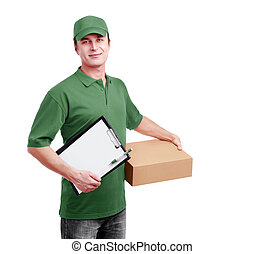 Express delivery courier in green uniform