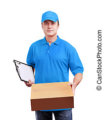 azul, caja, mensajero, luz, aislado, uniforme, blanco,...
