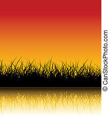 Vector grass background with reflections in the water