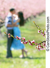 spring flowers on loving couple background