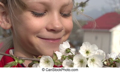 Girl and Flowers Cherry