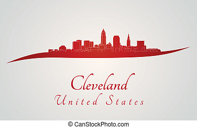 Cleveland skyline in red and gray background in editable...
