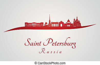 Saint Petersburg skyline in red and gray background in...