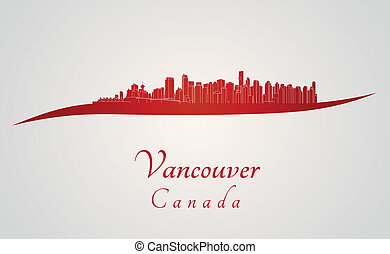 Vancouver skyline in red and gray background in editable...