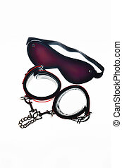 Sexy toys  - Red leather handcuffs and bandage for eyes