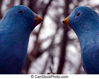 Love Birds - Wooden Blue Birds preparing to fall in love