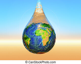 water is life - a drop of water with the planet earth inside