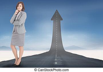 compuesto, imagen, preocupado, mujer de negocios