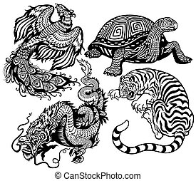 four celestial animals - tiger,turtle,phoenix and dragon...