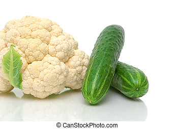 cauliflower and cucumbers close-up on white background