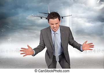 Composite image of businessman posing with hands out -...