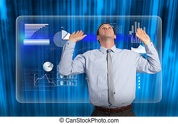 Composite image of businessman standing with arms pressing...
