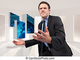 Composite image of businessman posing with arms out -...