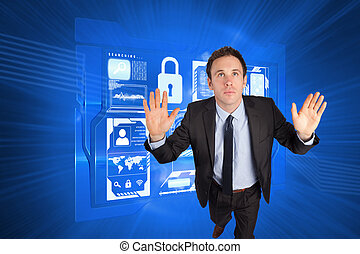 Composite image of businessman posing with arms raised -...