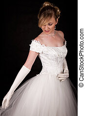 Bridal gown - Attractive blond woman wearing white wedding...